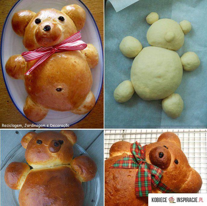 Miś z ciasta - Kobieceinspiracje.pl: Cake, Ideas, Teddybear, Teddy Bears, Recipes, Breads, Bear Bread, Food Art, Kid