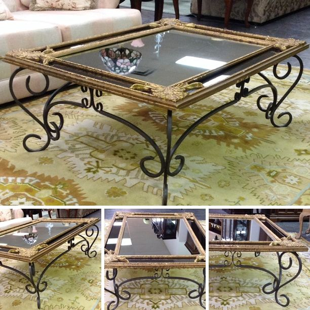 Coffee Table - Gold Mirror Coffee Table w/ Wrought Iron Base - $288.95