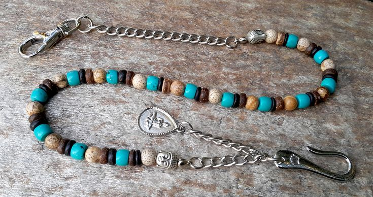 Spiritual Wallet Chain, Buddha Wallet Chain, Turquoise, Coconut Beaded Chain, Mens Accessories, Men's Silver Chain Lanyard, Gifts for Men