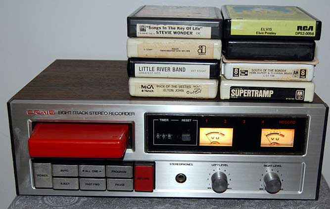 8-Track player and tapes