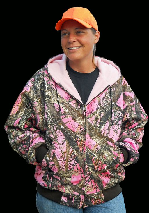 Pretty in Pink - Dangerous in Camo!  American Made Women's Hooded Pink Camo Jacket!  Reverses to Pink Fleece Too!