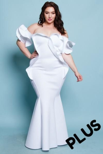 0655fb292cb1c Sohnia - +Plus Size Ruffled Off Shoulder Mermaid Maxi Dress (White) -  Glamour Fanatic