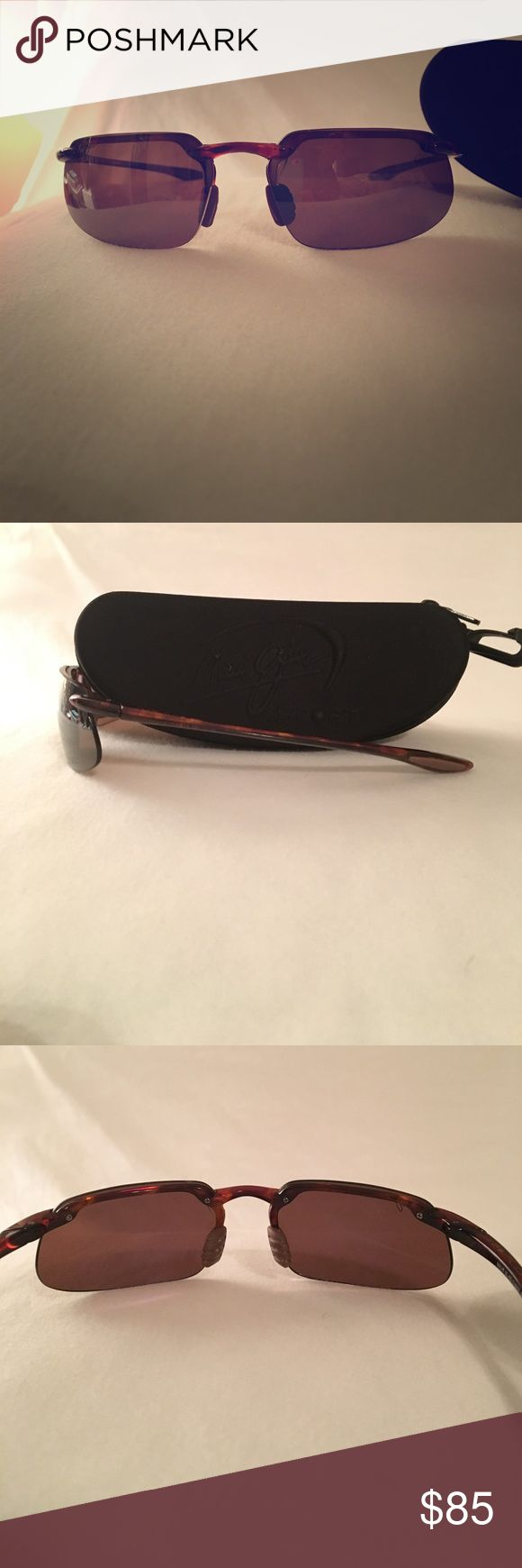 Maui Jim Sport Sunglasses Mirrored, UV Blocking, light Sport Sunglasses perfect for running to wearing under a hat watching a sporting event. In good condition, no scratches, flexible frame to prevent bending. Comes with case. Maui Jim Accessories Sunglasses
