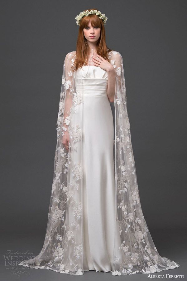 alberta ferretti bridal 2015 strapless wedding dress lace cape altair front view train; I am very much into the idea of having a cape
