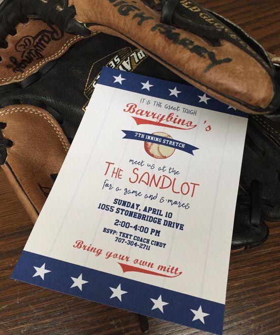 The Sandlot/Baseball Party Invitations Printable PDF File - Vintage Baseball Invitations