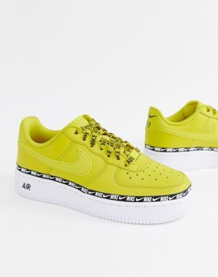 35adae663d75a Nike Yellow Air Force 1 Swoosh Tape Trainers in 2019 | sneakers ...