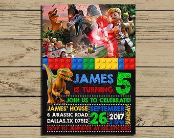 Lego Jurassic World Invitation - Lego Jurassic World Birthday Party Invite - Lego Jurassic World Invitation - YOU PRINT