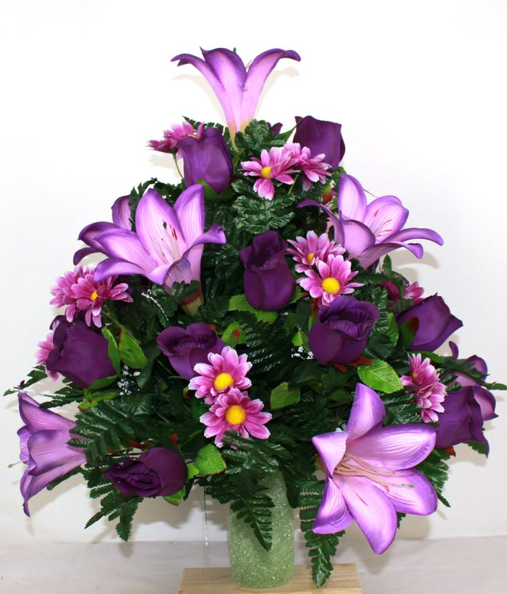 XL Beautiful Spring Cemetery Flower Arrangement for a 3 Inch Vase by Crazyboutdeco on Etsy