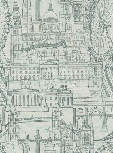 London Skyline Green (38832) - Graduate Collection Wallpapers - A stunning architect drawing style design - featuring iconic London buildings: St Paul's, Big Ben, Tower Bridge and Gherkin. A large pattern repeat creates a truly dynamic effect. Shown in the green colourway - drawn in dark green.  Paste the wall product. Please request a sample for true colour match.