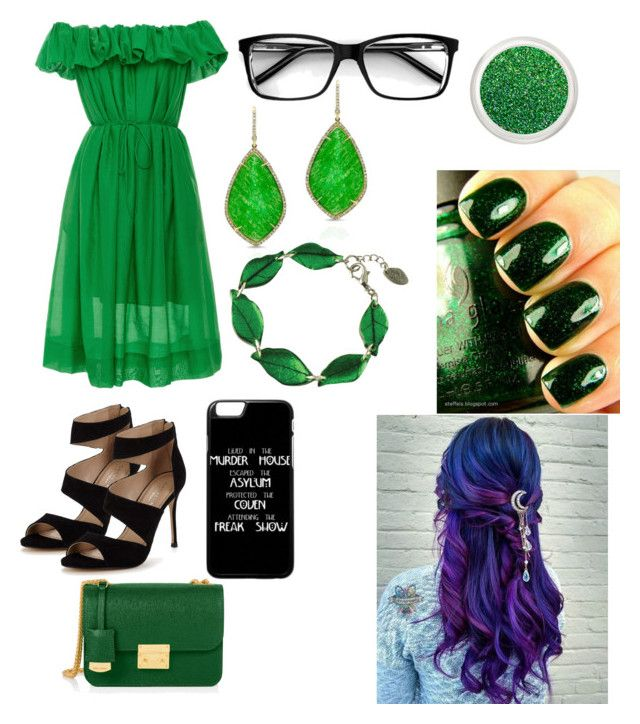 """""""Green Dream """" by sunny200317 on Polyvore featuring Paule Ka, Carvela, Anne Sisteron, China Glaze and Henri Bendel"""