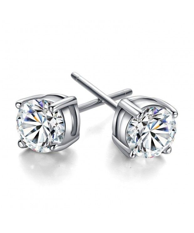 3 10mm Sterling Silver Round Clear Cubic Zirconia Stud Earring 8mm Cu12847f2ob Sterling Silver Earrings Studs Sterling Silver Studs Silver Jewelry Fashion