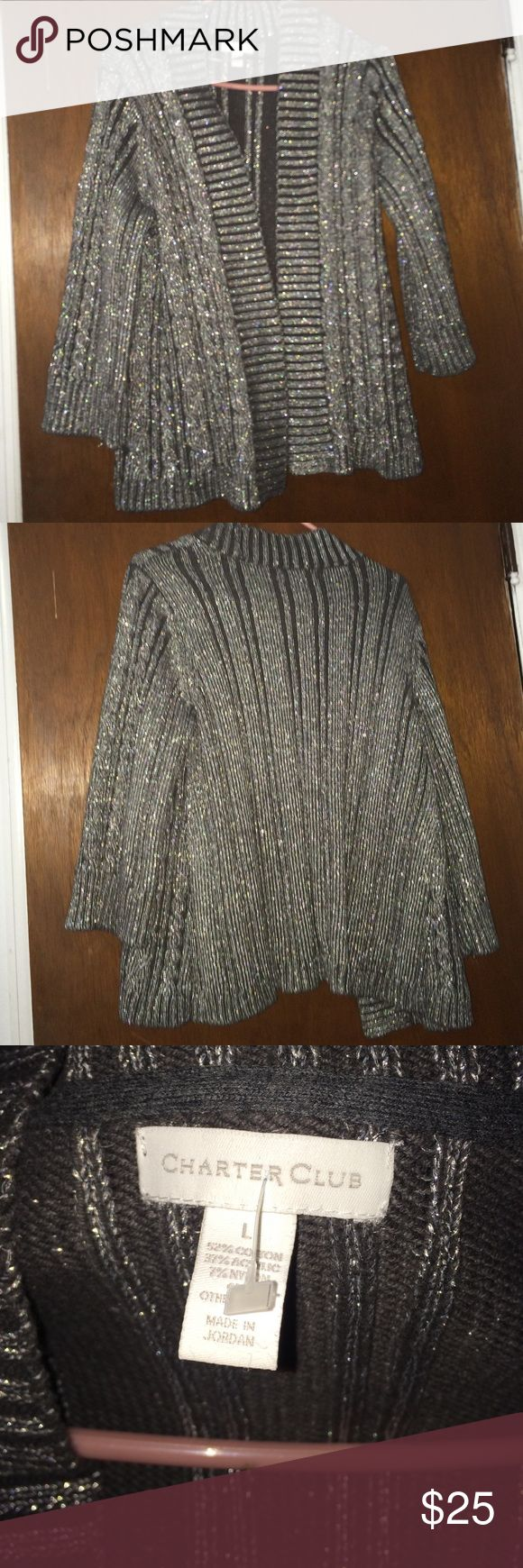 Silver cardigan Sparkly black & silver cardigan. Charter Club Sweaters Cardigans