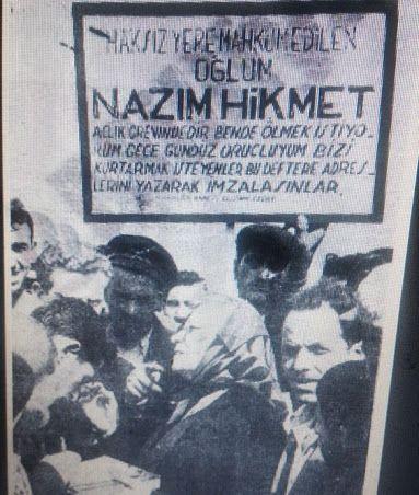 farukberber - Google+Nazım Hikmet hapisteyken annesi Celile Hanım, Galata Köprüsü'nde imza topluyor (Mayıs 1950 - Milliyet)