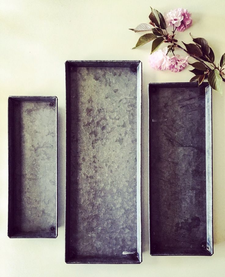 Zinc Decorative Trays, Set of 3
