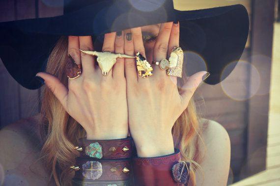ARROWHEAD RINGS /// Electroformed Gemstones /// Gold or Silver