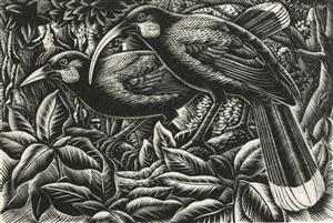 Nga huia, 1949 by E. Mervyn Taylor. Gift of the New Zealand Academy of Fine Arts, 1950. Te Papa