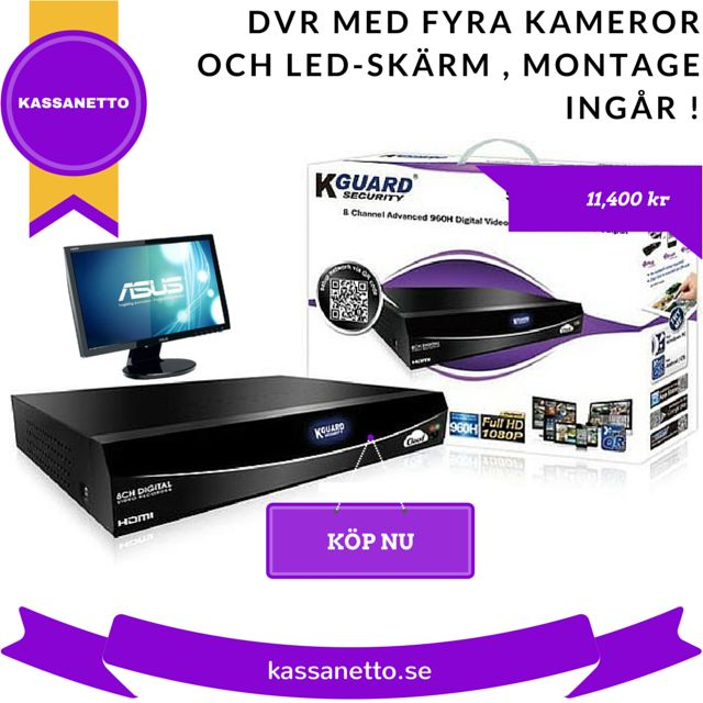 """Blixt Deal ! 11400 kr . DVR med fyra kameror och 22 """" ASUS LCD-skärm montering ingår! Deal är tillgänglig på #KASSANETTO . Handla nu"""
