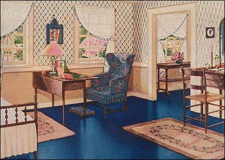 Bedroom, c. 1920s http://www.antiquehomestyle.com/img/27armstrong-blue-br-sm.jpg