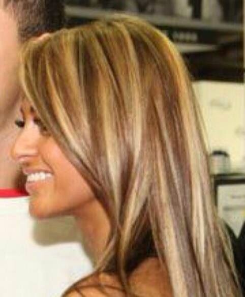 Light Brown Lowlights Mixed With Blonde High Lights