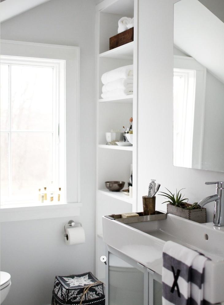 planter in the bathroomOpen Shelves, Built In, Modern Bathroom, Bathroom Storage, Bathroom Ideas, Bathroom Sinks, White Bathroom, Bathroom Shelves, Bathroom Decor