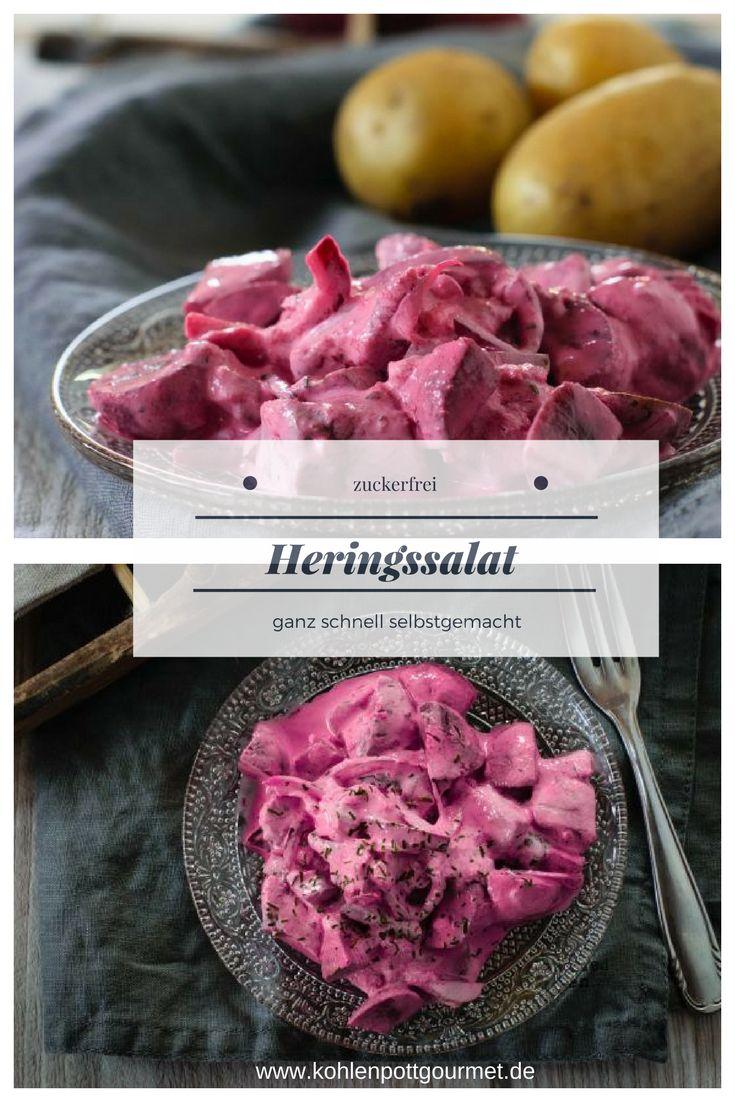 Rezept für selbstgemachten Heringssalat ohne Zucker und ohne Sahne aber dafür unwahrscheinlich lecker.