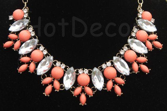 Orange necklace Statement Necklace Bib necklace by HotDecor, $16.99