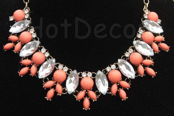 Orange necklace Statement Necklace Bib necklace by HotDecor, $16.99
