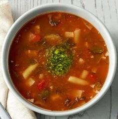 "Carol Corners the Market: ""Panera-style"" Low-Fat Vegetarian Garden Vegetable Soup with Pesto"