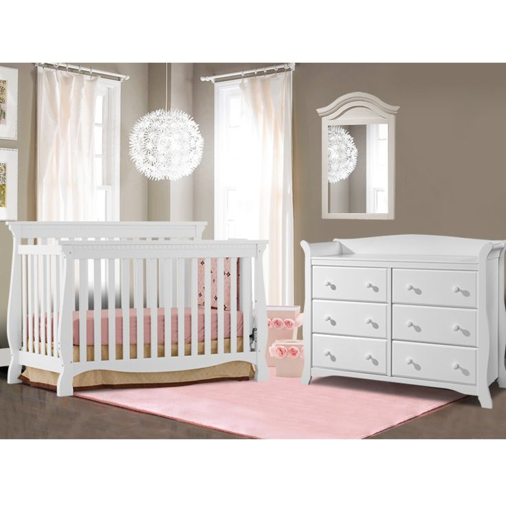 Elegant Storkcraft 2 Piece Nursery Set   Venetian Convertible Crib And Avalon 6  Drawer Dresser In White