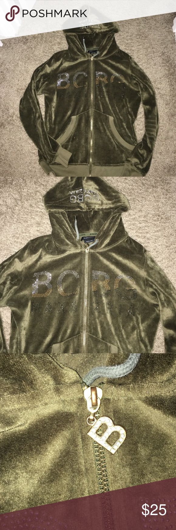 Like new BCBG khaki sweat suit velour jacket It is velour. Only worn a few times. Excellent condition. Has matching pants listed separately because they are a large. BCBG Jackets & Coats
