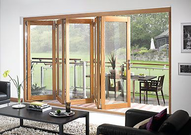 Possible doors for deck Oak External Wooden Timber Bi-fold Tri-fold Folding Sliding French Doors Pairs : concetina doors - Pezcame.Com