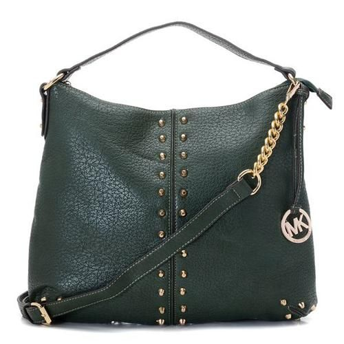 Perfect Michael Kors Weston Pebbled Stud Large Green Shoulder Bags, Perfect You
