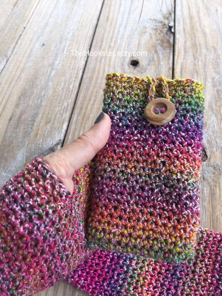 Crochet iPhone Phone Case, Multicolored Phone Case, Phone Cover, cell phone case, cell phone cover, ipod case, buttoned case by TheHookster on Etsy