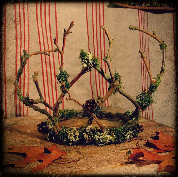Forest King Twig Crown Fae Costume Festival Wedding by pandorajane, $45.00