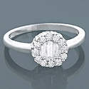 14K Gold Circle anillo de diamantes baguette y 0.59ct Ronda