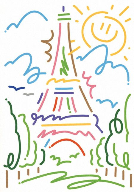 """Eiffel Tower, Colette, Souvenirs de Paris (2013) c-printed postcards. Jordy Van Den Nieuwendijk, Netherlands.  Three out of eight drawings for the 'Souvenir de Paris' series of postcards I recently drew for Paris based concept store Colette. Since this unique boutique opened its doors in 1997, it has positioned itself as a 'must visit' location in Paris, selling exclusive, pre-released and limited edition products. (Merci Mr. L'Agent)."""""""