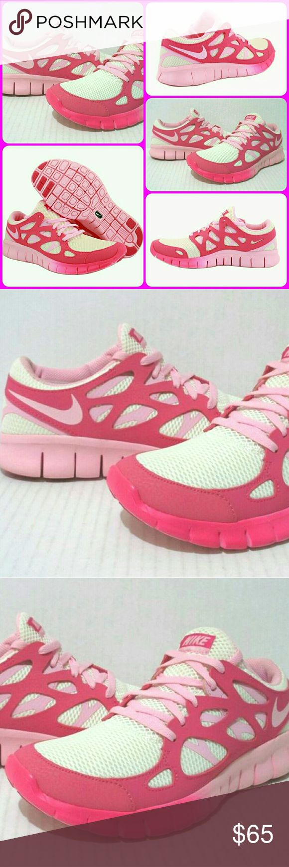?? NIKE FREE RUN 2 PINK ION RUNNING TENNIS SHOES ?? WAY COOL LOOKIN NIKE FREE RUN 2 EXT running shoes in ION PINK/PINK FORCE 2tone color combo...they are a LADIES SIZE-9 & in excellent nearly new condition with very minimal wear ( only worn 2-3 times) Nike Shoes Athletic Shoes