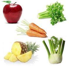 Centrifugato Drenante   2 mele, 2 carote, 2 gambi di sedano, 2 fette di ananas, 1/2 finocchio