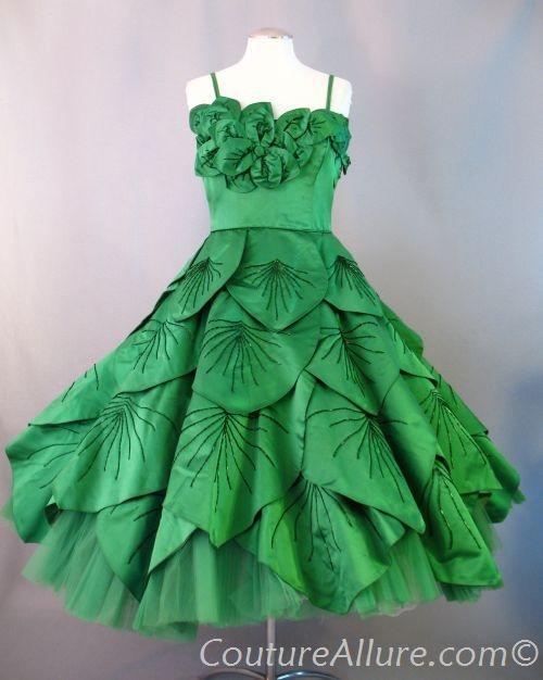 Vintage 50s Emerald Petals Silk Full Skirt Dress