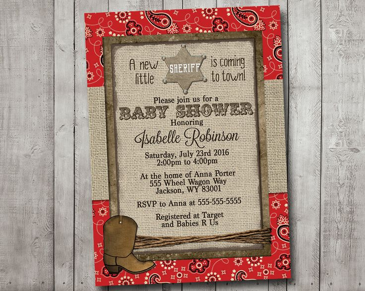 #BabyShowerInvitation Boy Baby Shower Invitation Cowboy Western Sheriff Burlap Rustic Red Bandana Printable Digital I Customize For You printable rustic burlap baby shower invitation shower invitation baby boy western cowboy bandana Sheriff red 14.00 USD MintedPress