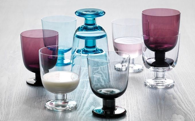 "Stackable Classes from Ittala - Designed by Matti Klenell (a Swede who calls himself a ""glass nerd"") for Ittala, the glasses are named for the Finnish word meaning universal and come in four colors; clear, gray, dark purple and light blue. 