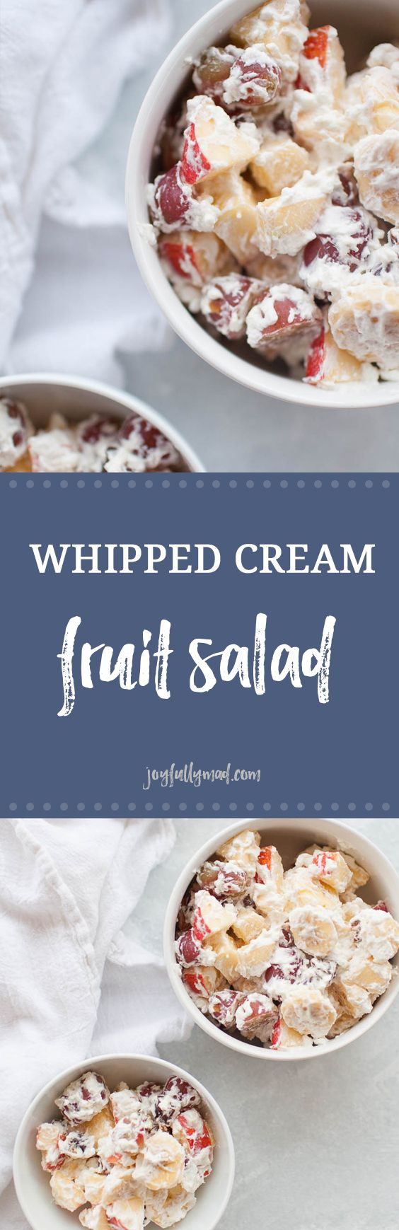 Whipped cream fruit salad is the perfect holiday side dish or dessert! It's made with fresh fruit like grapes, bananas and apples and homemade whipped cream, sweetened with a bit of honey, so this dish is perfect for the whole family. Serve with your turkey holiday dinners or as a part of your regular weeknight dinner menu. #falldessert #desserts