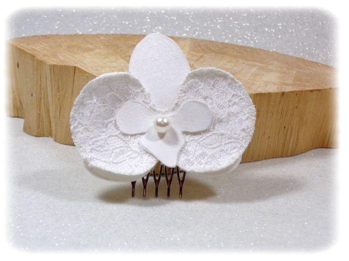 Peignes Orchidées dentelle blanc cassé 2