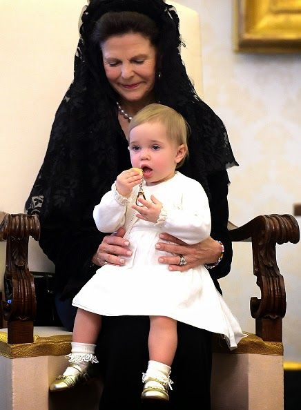 Queen Silvia of Sweden and her granddaughter Princess Leonore during a private audience with Pope Francis at the Apostolic Palace on April 27, 2015 in Vatican City, Vatican.