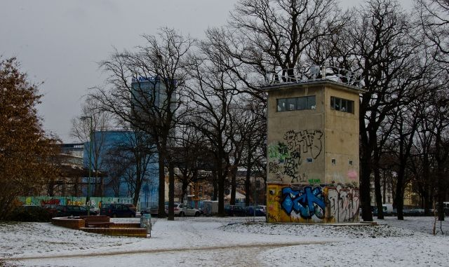 One of the last remaining Berlin Wall watchtowers