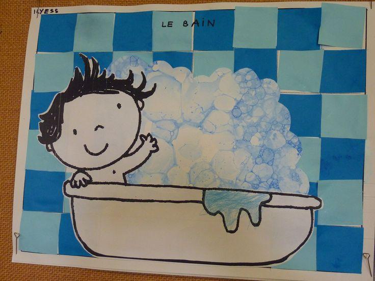 le bain : mousse soufflée à la paille (encre + savon liquide) ; quadrillage, collage en damier pour le carrelage de la salle de bain : coloriage (eau qui déborde) C. Fristot PS E. M. Pfoeller