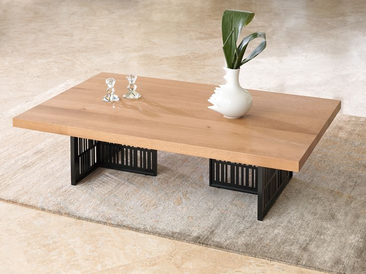 BARCODE contemporary coffee table in solid oak wood top and metal legs