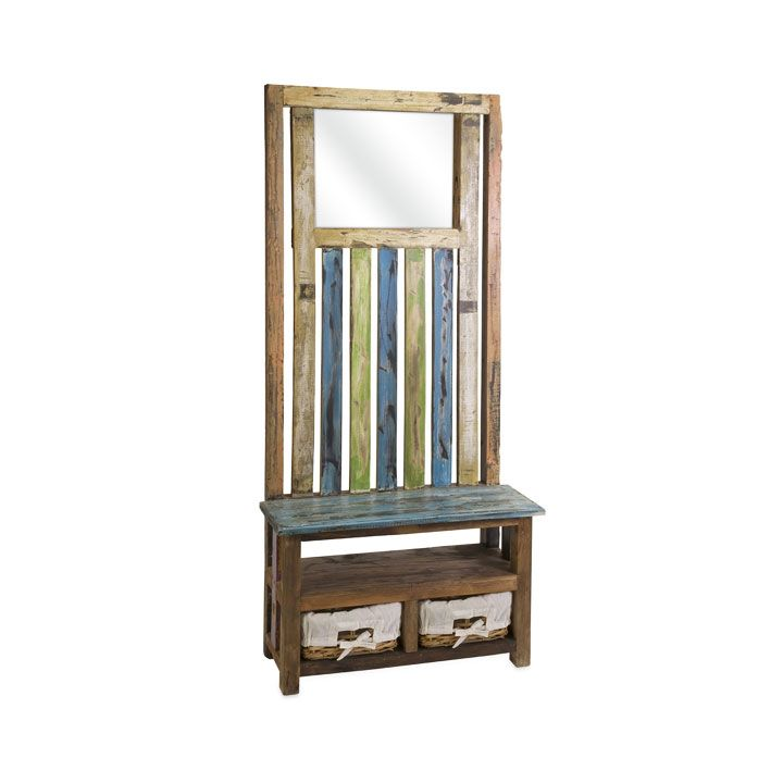 Diego Recycled Wood Entry Coat Rack With Bench Amp Storage