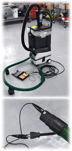 Ultimate Dust Deputy® Festool Assembly  -  The inlet of Festool® dust extractors incorporates a connection to the earth ground to provide a safe discharge pathway for static electricity that may be generated when wood dust moves through hose or plastic parts. This grounded inlet works in conjunction with anti-static hoses.