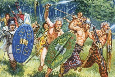 """Celtic Warriors - """"image is from a box of toy soldiers by Italeri.""""- http://www.redrampant.com/2009/06/celtic-warriors.html"""